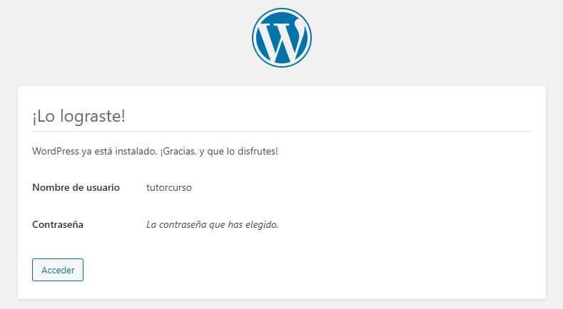 Instalación WordPress finalizada