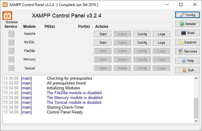 Panel de Control xampp